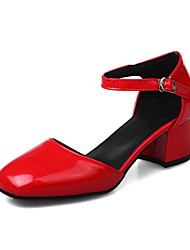 Women's Sandals Patent Leather Spring Fall Walking Buckle Chunky Heel White Black Gray Ruby 1in-1 3/4in