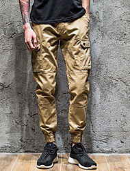 Women's High Waist Inelastic Loose Pants,Simple Loose Solid