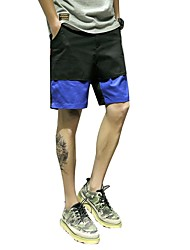 Men's Mid Rise Inelastic Shorts Pants,Simple Relaxed Color Block