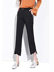 Feminino Simples Cintura Média Micro-Elástica Perna larga Calças,Largo