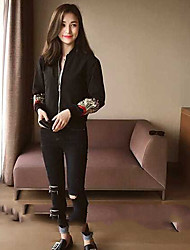 Women's Casual/Daily Simple Spring Leather Jacket,Solid Round Neck Long Sleeve Regular Others Embroidered