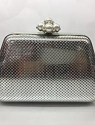 Вечерняя сумочка Полиуретан Замок с защелкой Цвет шампанского Золотой Черный Серебряный