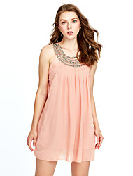 Women's Casual/Daily Street chic Chiffon Dress,Solid Round Neck Above Knee Sleeveless Pink / Beige / Black Polyester Summer