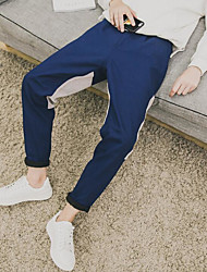 Masculino Activo Cintura Média Micro-Elástica Chinos Calças,Reto Sólido