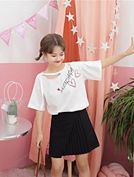 T-shirt Da donna Casual RomanticoCon stampe Rotonda Cotone Mezze maniche