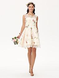 Vestito dalla damigella d'onore del organza di lunghezza del ginocchio del collo del gioiello con fiore (s)
