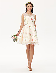 2017 Knee-length Jewel Bridesmaid Dress - Open Back Floral Sleeveless Organza