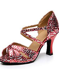 Damen Latin Seide Sandalen Sneakers Professionell Verschlussschnalle Blockabsatz Fuchsia Bronze 5 - 6,8 cm Maßfertigung