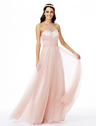 A-Line Jewel Neck Floor Length Tulle Bridesmaid Dress with Sash / Ribbon Pleats by LAN TING BRIDE®