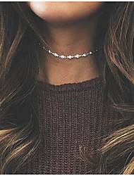 Women's Choker Necklaces Round Rhinestone Alloy Euramerican Fashion Jewelry For Wedding Party 1pc