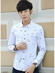 Masculino Camisa Social SimplesEstampado Poliéster Colarinho de Camisa Manga Longa