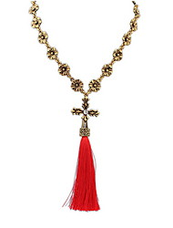 Euramerican Fashion Elegant Bohemian Simple Red Tassel Lady Business Y-Necklaces Movie Jewelry