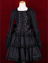 One-Piece/Dress Lolita Cosplay Lolita Dress Vintage Cap Long Sleeve Short / Mini Dress For