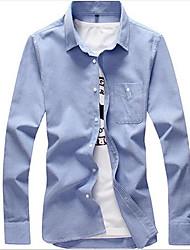 Men's Formal Simple Shirt,Solid Shirt Collar Long Sleeve Cotton