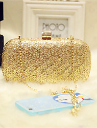 Women Evening Bag PU All Seasons Event/Party Party & Evening Club Baguette Magnetic Gold Champagne