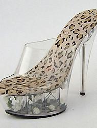 Mujer Tacones PVC Verano Otoño Cristal Flor Tacón Stiletto Tacón de cristal Negro/Amarillo Cebra Pantalla de color 12 cms y Más