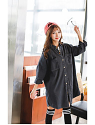 Women's Casual/Daily Simple Fall Denim Jacket,Solid Round Neck Long Sleeve Long Cotton