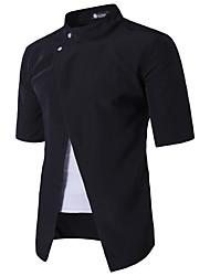Masculino Camisa Social Casual SimplesSólido Algodão Colarinho Chinês Manga Curta
