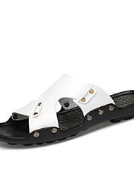 Men's Slippers & Flip-Flops Casual Comfort Beach Style Leather Summer Fall Daily Walking Split Joint Flat HeelLight Brown Pool Ruby Black
