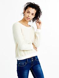 Damen Solide Einfach Street Schick Ausgehen Lässig/Alltäglich T-shirt,Rundhalsausschnitt Herbst Winter Langarm Baumwolle Polyester Dünn