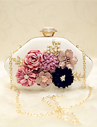 Women Evening Bag PU All Seasons Event/Party Party & Evening Date Others Flower Magnetic Black White