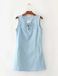 Women's Going out Casual/Daily A Line Dress,Solid V Neck Above Knee Sleeveless Cotton Summer Low Rise Inelastic Medium