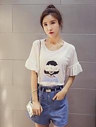 Damen Druck Einfach Normal T-shirt,Rundhalsausschnitt Sommer Kurzarm Baumwolle