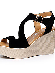 Women's Sandals Club Shoes Leatherette Summer Casual Wedge Heel Ruby Black 3in-3 3/4in
