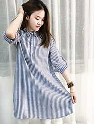 Women's Graduation Athleisure Simple Tunic Dress,Lines / Waves Shirt Collar Above Knee Long Sleeve Polyester Spring Mid Rise Micro-elastic