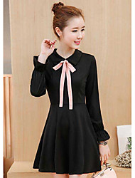 Women's Casual/Daily A Line Dress,Solid Shirt Collar Above Knee Long Sleeve Cotton Summer High Rise Micro-elastic Thin