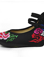 Women's Flats Embroidered Shoes Fabric Spring Casual Flat Heel Black Flat