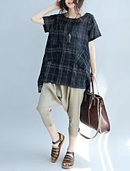 Damen Verziert Einfach T-shirt,Rundhalsausschnitt Sommer Kurzarm Baumwolle