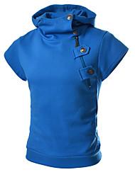 Hombre Vintage Casual Primavera Otoño Camiseta,Con Capucha Un Color Manga Corta Mezcla de Algodón