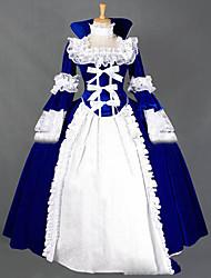 Una Sola Pieza/Vestidos Gosurori Lolita Cosplay Vestido  de Lolita Cosecha Casquillo Manga Larga Hasta el Suelo Vestido por Otros