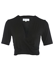 Damen Solide Sexy Alltag T-shirt,V-Ausschnitt Frühling Sommer Kurzarm Baumwolle