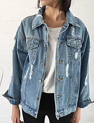 Women's Casual/Daily Vintage Spring Denim Jacket,Solid Shirt Collar Long Sleeve Regular Cotton