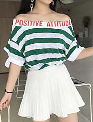 Damen Gestreift Einfach Alltag Normal T-shirt,Bateau ½ Länge Ärmel Baumwolle