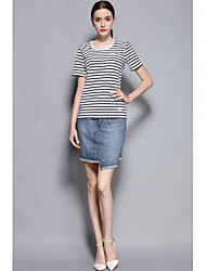 Women's Daily Lovely Spring Summer T-shirt Skirt Suits,Solid Lines / Waves Round Neck Short Sleeve Micro-elastic