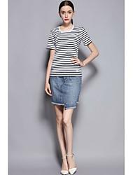 Mujer Encantador Diario Primavera Verano T-Shirt Falda Trajes,Escote Redondo Un Color Líneas / Olas Manga Corta Microelástico