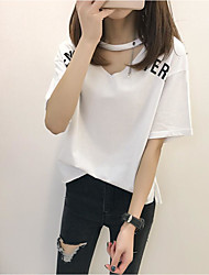 Damen Buchstabe Einfach Normal T-shirt,V-Ausschnitt Sommer Kurzarm Baumwolle