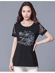 Damen Blumen Einfach T-shirt,Rundhalsausschnitt Kurzarm Baumwolle