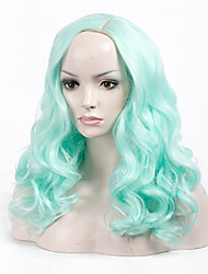 Fashion Stylish Light Green Color Short Wave Woman's Synthetic Hair Wigs Suit for Party and Daily Life