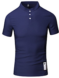 Men's Casual Daily Work Summer Button Design Standing Collar Short Sleeve Cotton Thin T-shirt