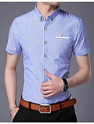 Herren Gestreift Einfach Hemd,V-Ausschnitt Kurzarm Baumwolle