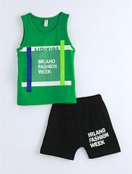 Boys' Geometric Sets,Cotton Summer Sleeveless Clothing Set