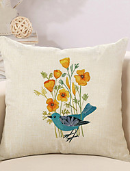 1 Pcs High Quality Flowers Birds Linen Pillow Cover Sofa Cushion Cover 45*45Cm Pillowcase