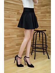 Femme Sortie Au dessus des genoux Jupes Couleur Pleine Printemps
