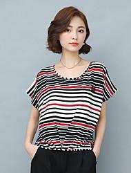 Damen Gestreift Einfarbig Chinoiserie Alltag T-shirt,Rundhalsausschnitt Kurzarm Andere