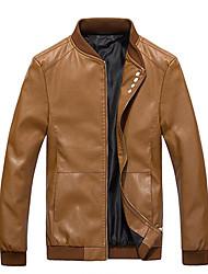 Для мужчин На каждый день Весна Кожаные куртки Круглый вырез,Простой Однотонный Обычная Длинный рукав,Не указан