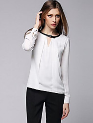 Women's Work Sexy Shirt,Solid V Neck Long Sleeve Cotton